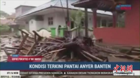 印尼遭海啸袭击至少43人遇难